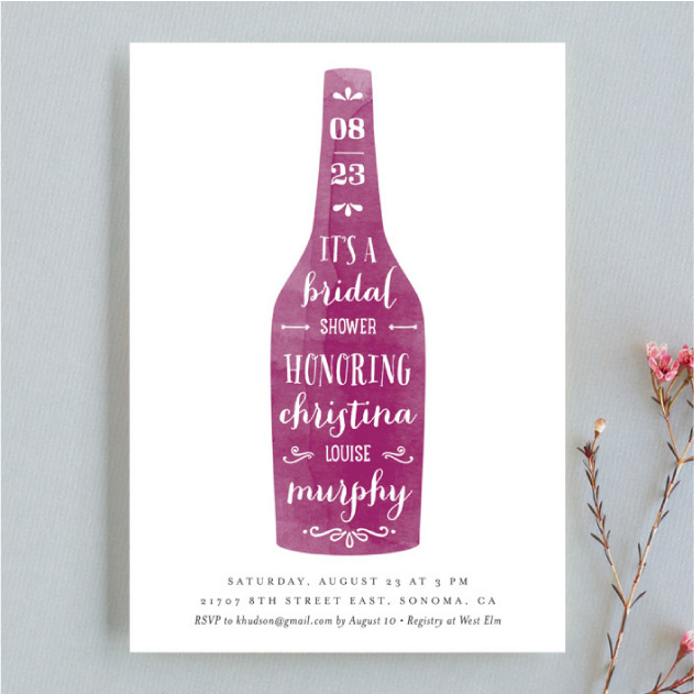 Bridal shower - wine illustration with calligraphy