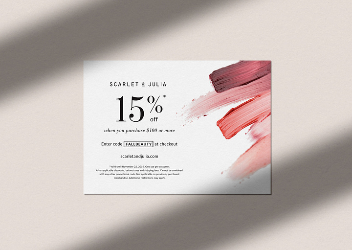Scarlet & Julia: Design of a printed promo code for beauty products