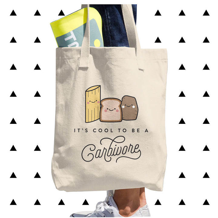 Tote Bag: Carbs illustration (It's cool to be a carbivore)