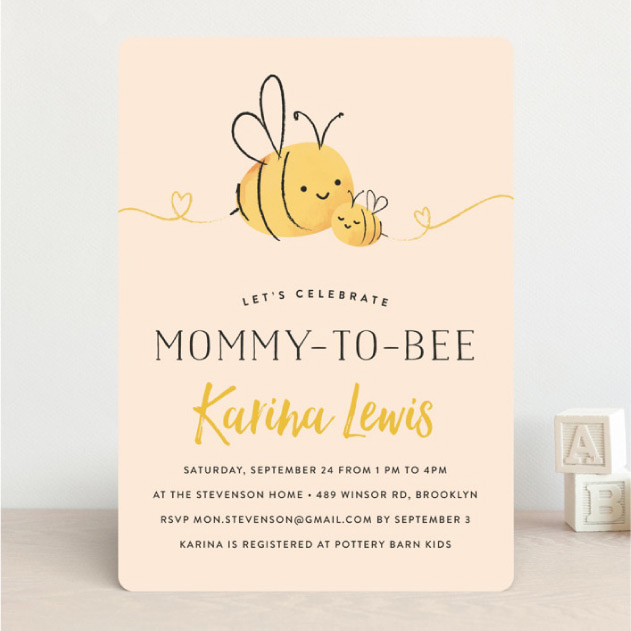 Baby shower - bees illustration 'Mommy to bee'