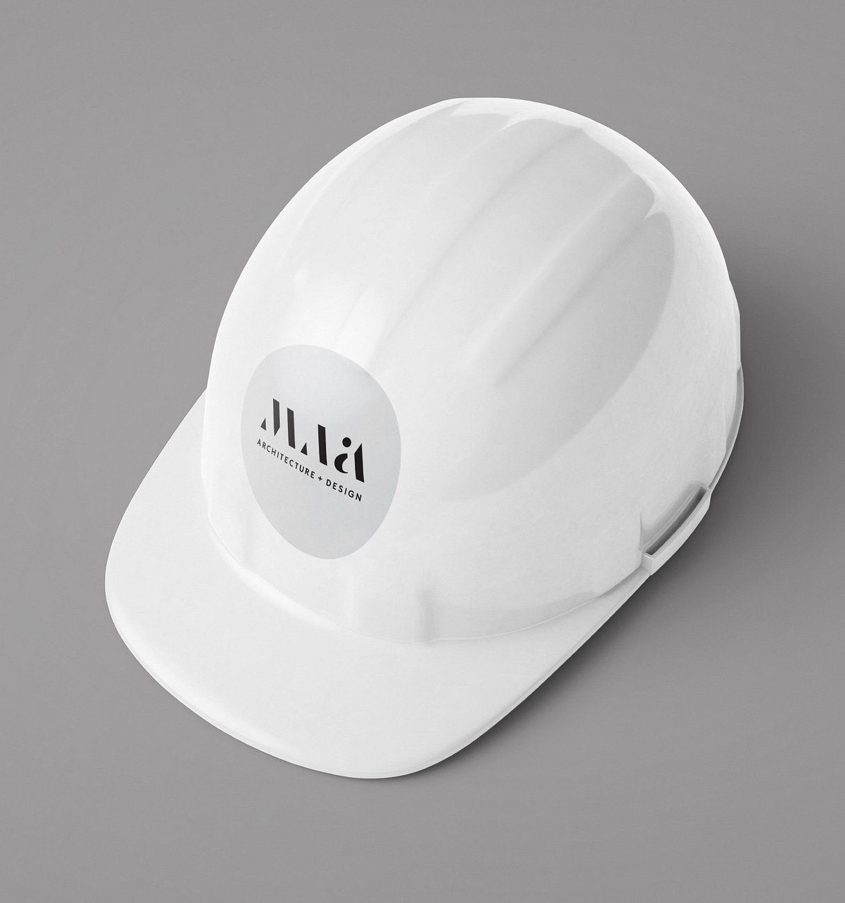 Architect hard hat with branding collateral (sticker)