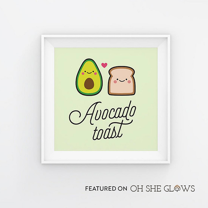 Wall art: Avocado Toast cute illustration (featured by Oh She Glows)