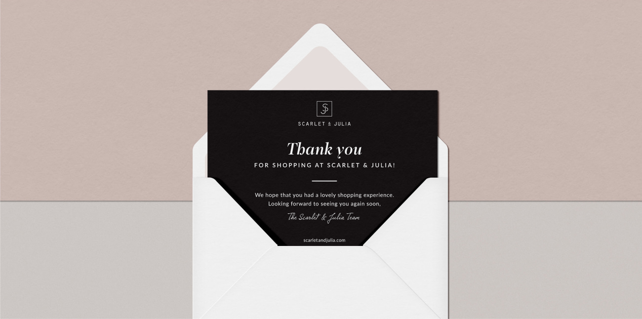Printed thank you card for ecommerce clients