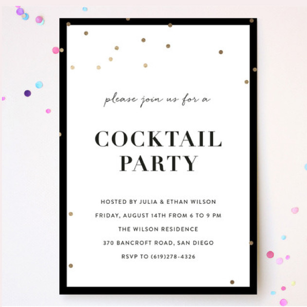 Invitation cocktail party with dots
