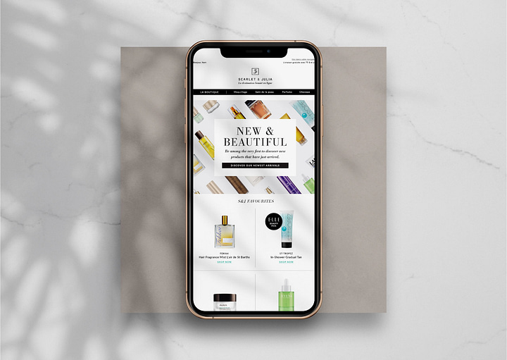 Mobile design of the website selling beauty products
